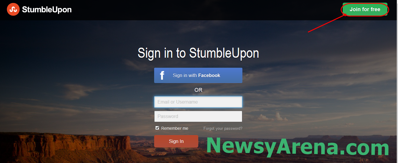 Create StumbleUpon Account
