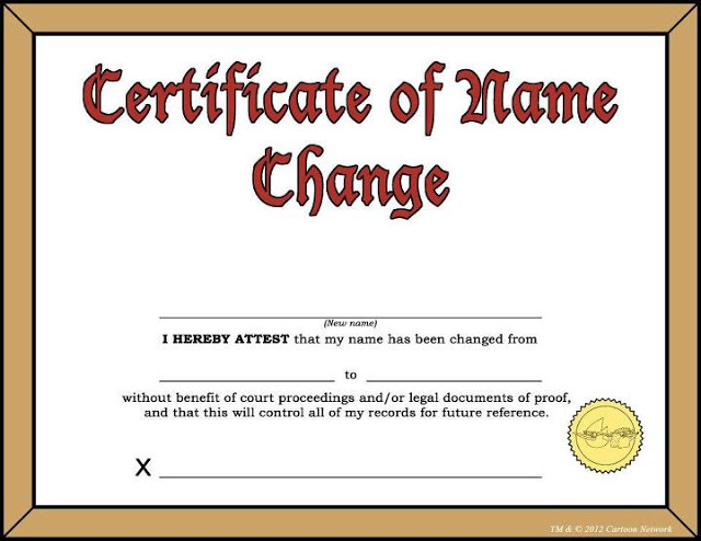 Change Of Name Procedures