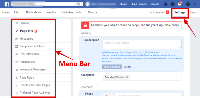 image of FB setting and Menu bar