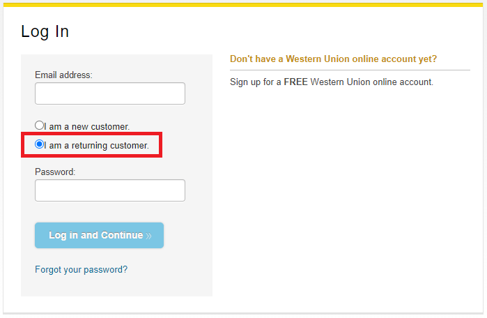 Western Union Online Account Login image
