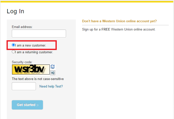 Western Union Online Account sign up image